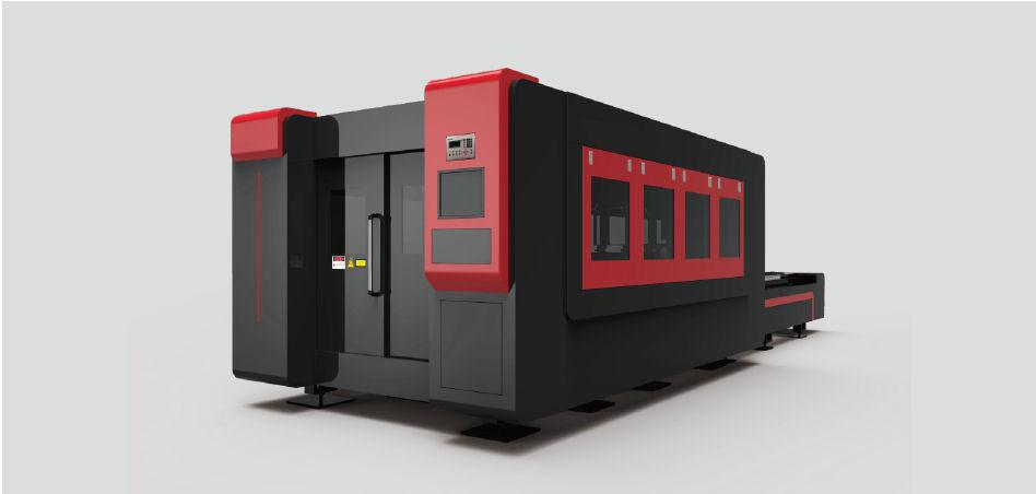 Maszyna do cięcia laserowego blach z osłonami oraz wymiennymi stołami